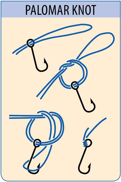"""En """"How to"""" infographic der viser hvordan man binder en Palomar fiskeknude brugt til lystfiskeri med fletline"""